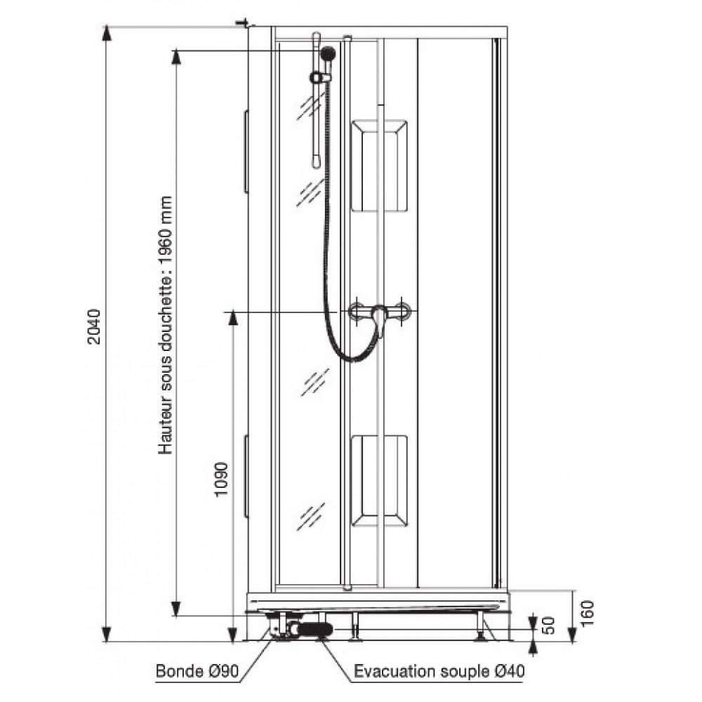 Cabine De Douche 80X80 Cm - Accès De Face Par Portes concernant Dimension Cabine De Douche