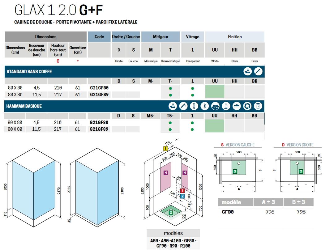 Cabine De Douche Glax 1 2.0 G+F, Dimension En 80X80 Cm À Une encequiconcerne Dimension Cabine De Douche