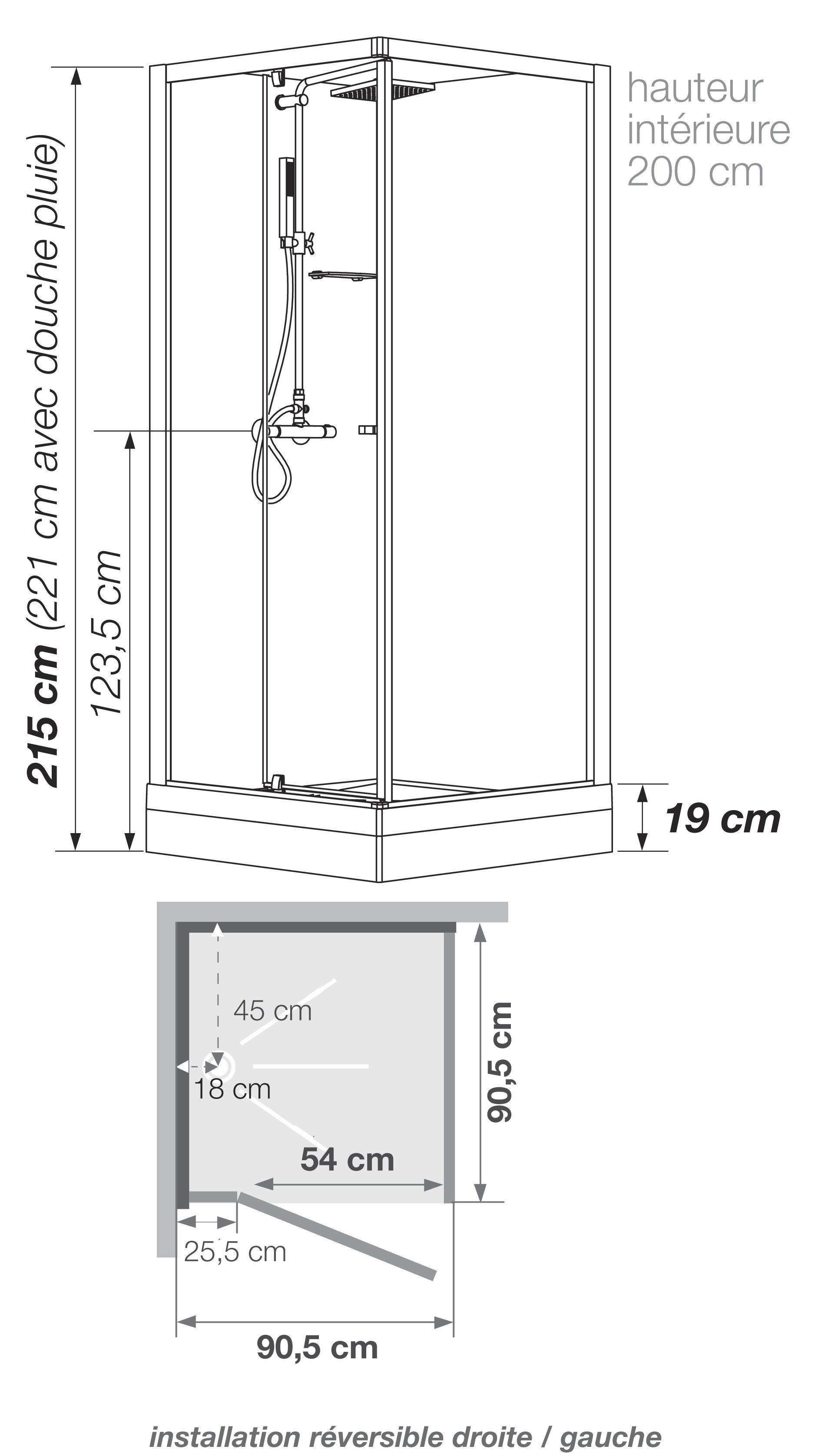 Cabine De Douche Jazz 80X120 Brico Depot destiné Dimension Cabine De Douche