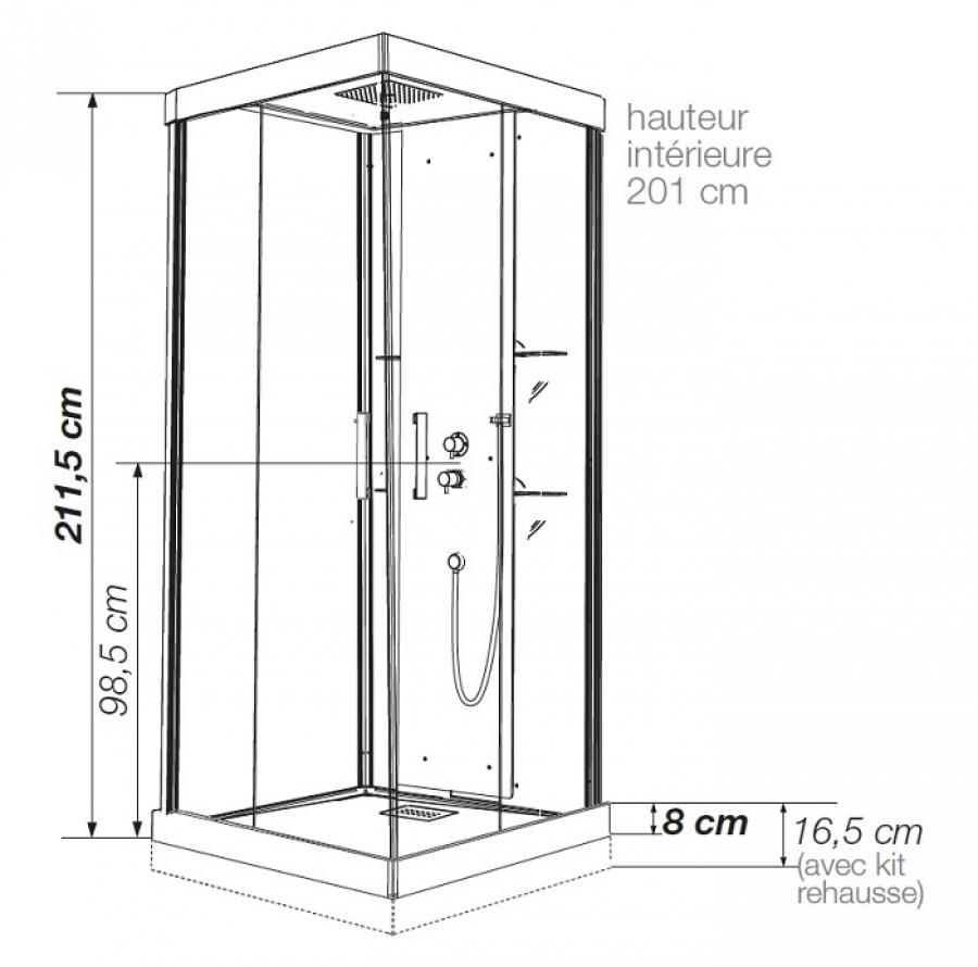 Cabine De Douche Kineform Thermostatique Carré 90 Cm - Perle Noire concernant Dimension Cabine De Douche