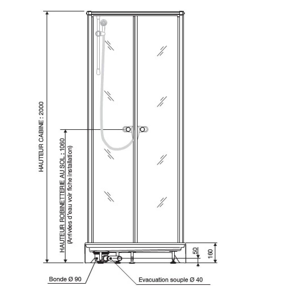 Cabine De Douche Surf 4 - 70X70 Cm - Accès De Face - Portes Battantes Leda concernant Dimension Cabine De Douche