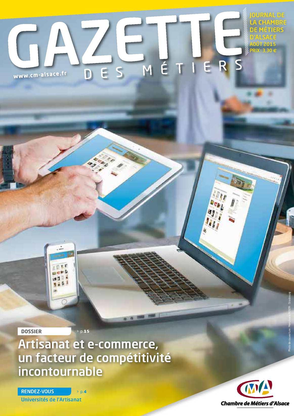 Calaméo - Gazette Des Métiers - Aout 2015 pour Chambre Des Métiers Colmar