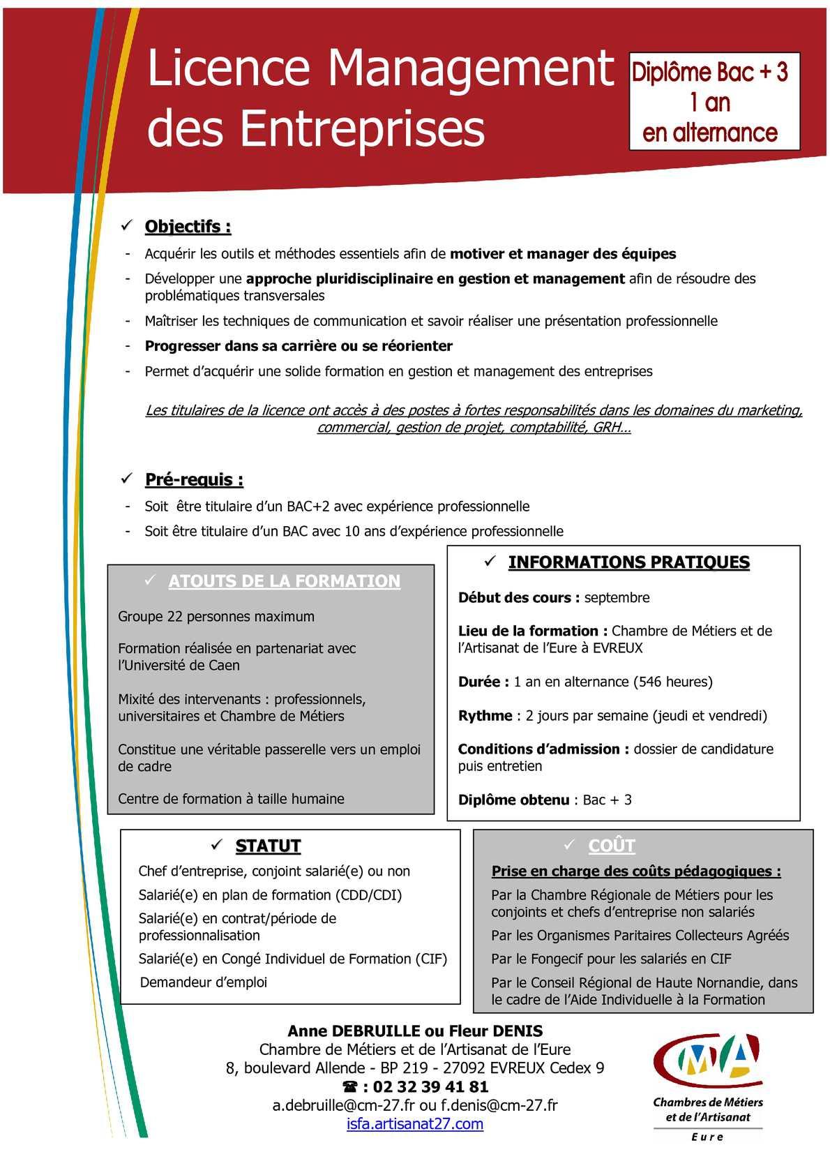 Calaméo - Licence Management Des Entreprises - Isfa Evreux encequiconcerne Chambre Des Metiers De L Eure
