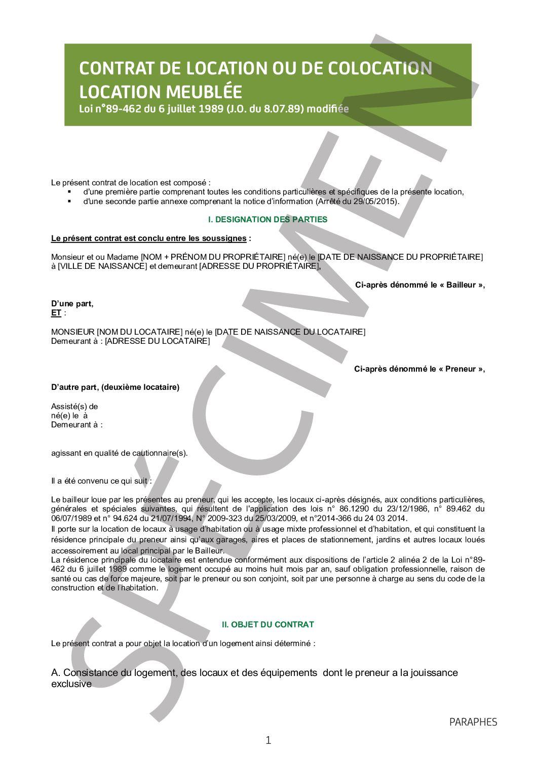 Calaméo - Modèle Gratuit Contrat De Location Meublée avec Contrat De Location Meublé Gratuit