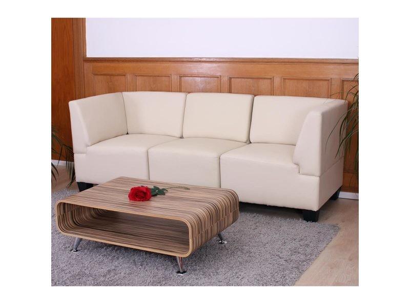 Canapé 3 Places Lounge/Salon Lyon, Modulable, Simili-Cuir encequiconcerne Kit Réparation Canapé Simili Cuir