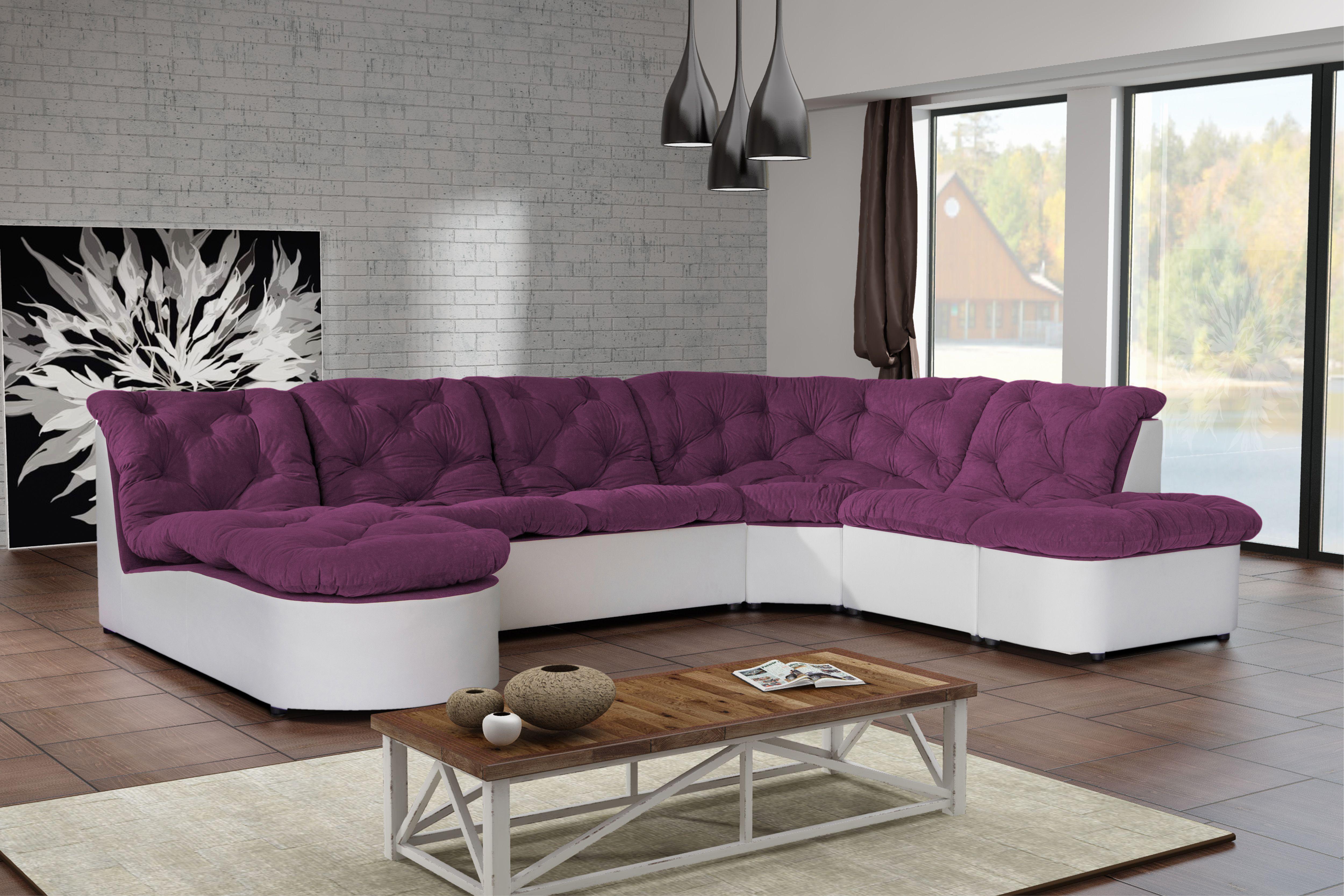 Canapé Clac D'Angle Panoramique Prune/Pu Blanc Sofa Divan dedans Canape D Angle Pas Cher Destockage
