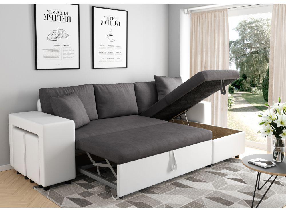 Canapé D'Angle Convertible En Lit Avec Poufs Oslo Gris Blanc pour Belhome Canapé
