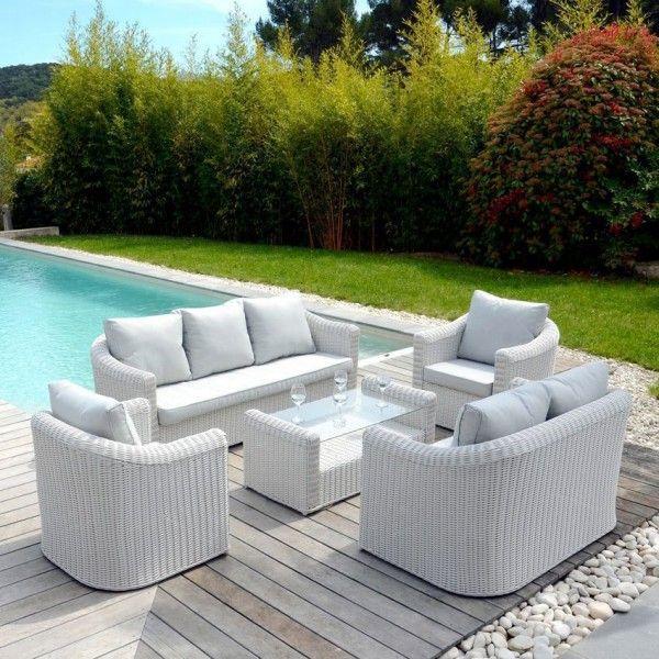 Canapé De Jardin 3 Places Capri - Blanc/Perle - Salon De encequiconcerne Salon De Jardin Blanc