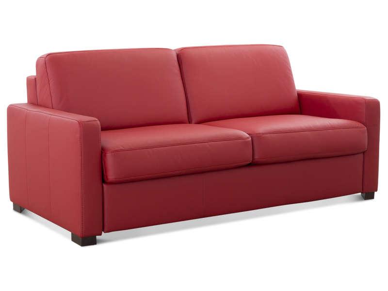 Canapé Droit Convertible 2 Places En Cuir Comfort Bultex dedans Canape Divalit