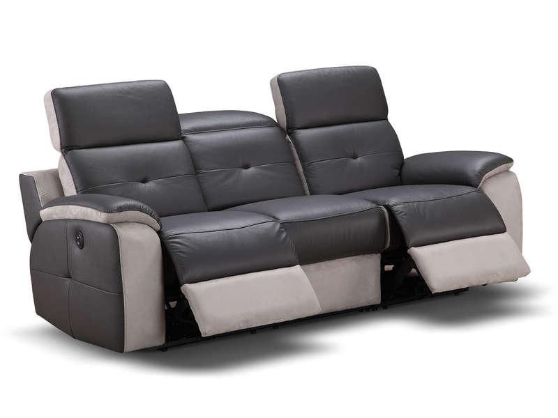 Canapé Fixe Relaxation Électrique 3 Places En Tissu concernant Canapé Cuir Relax Électrique Conforama