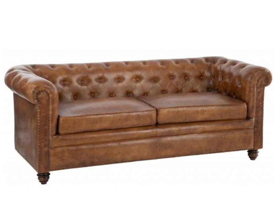 Canapé Vintage Cuir Anglais Forme Chesterfield dedans Canapé Chesterfield Cuir Vieilli