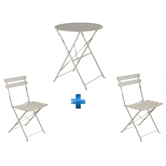 Carrefour - Ensemble Table Bistrot Ronde Pliante + 2 pour Table De Jardin Pliante Carrefour