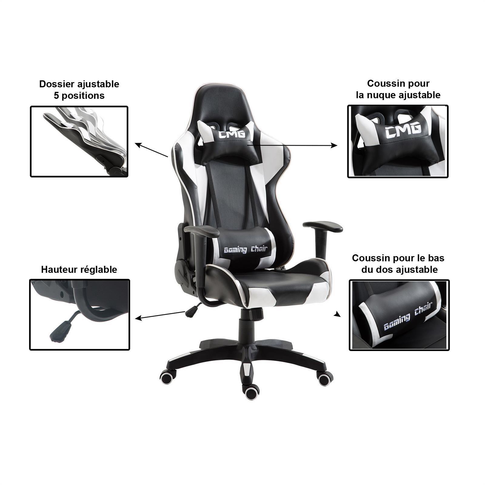 Chaise De Bureau Gaming, Noir Et Blanc - | Mobil-Meubles à Meuble Gaming