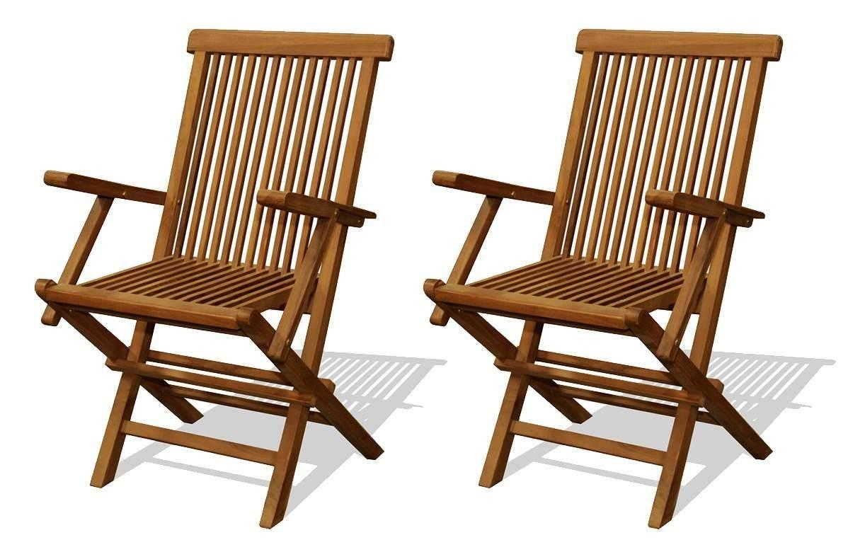 Chaise De Jardin En Teck Brut Avec Accoudoirs - Lot De 2 encequiconcerne Chaise De Jardin Hesperide