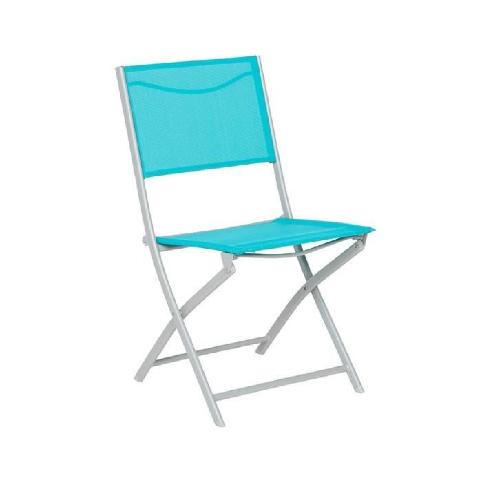 Chaise Pliante Hespéride Modula Bleu Lagon/Silver Mat destiné Chaise De Jardin Hesperide