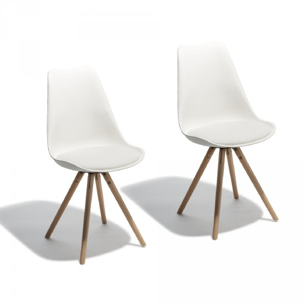 Chaise Scandinave Kelly Blanche X2 - Chaise - Salle À tout Chaise Chilienne Gifi