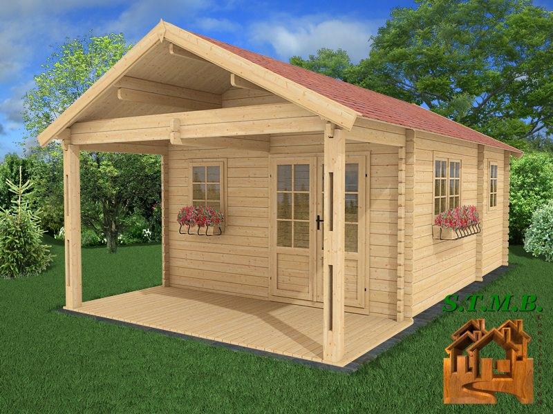 Chalet En Bois En Kit Avec Terrasse Couverte Modèle Frene concernant Chalet En Bois En Kit Habitable Pas Cher