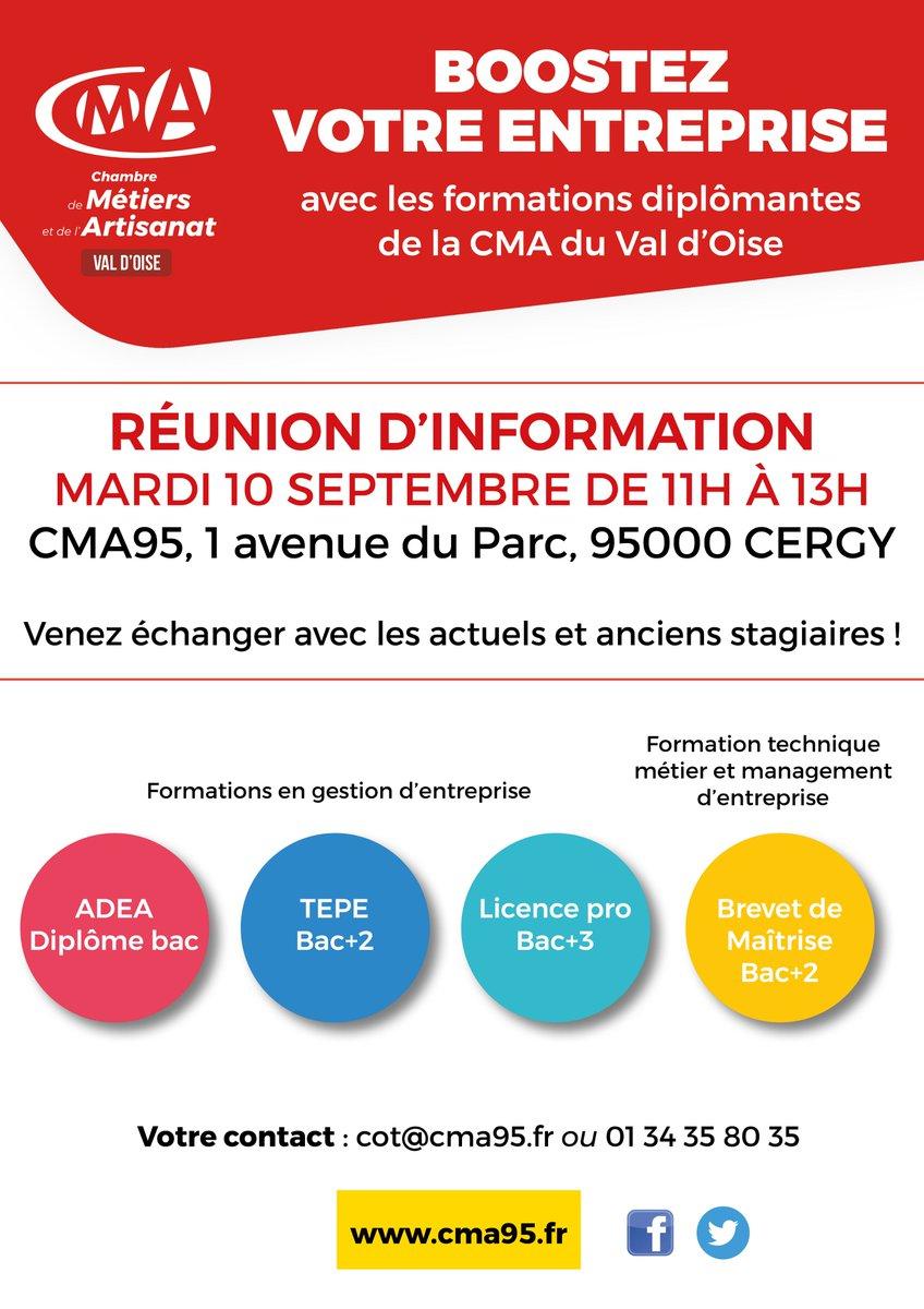 "Cma Val D'oise A Twitter: ""📆 Rdv Le 10/09, À 11H, À La Cma pour Chambre Des Metiers Cergy"