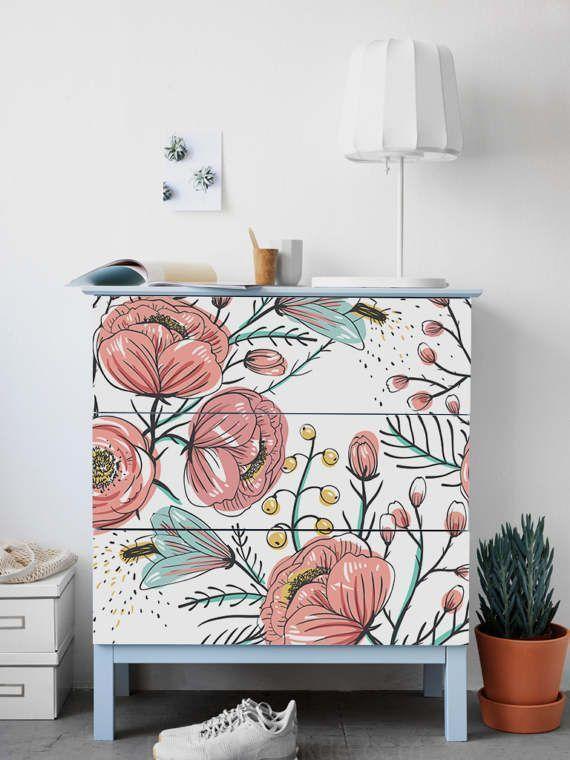 Commode Malm, Ikea, Sticker Jardin Vintage -, Pa encequiconcerne Mobilier De Jardin Ikea