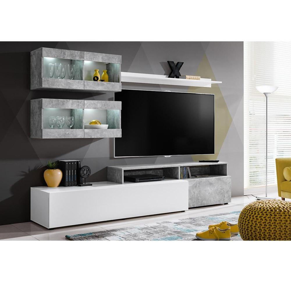 Composizione Soggiorno Mobile Porta Tv Bianco E Cemento Piero tout Meuble Tv Sono