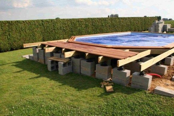 Construction De La Plage | Piscine Bois, Piscine Hors Sol avec Piscine Sur Terrasse En Hauteur