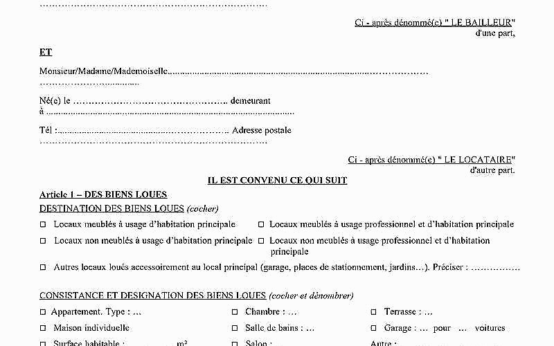 Contrat De Location Maison Individuelle Non Meublee serapportantà Contrat De Location Meublée