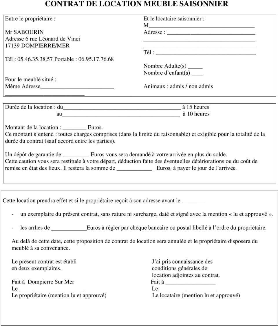 Contrat De Location Meuble Saisonnier - Pdf Téléchargement destiné Contrat De Location Meublé Gratuit