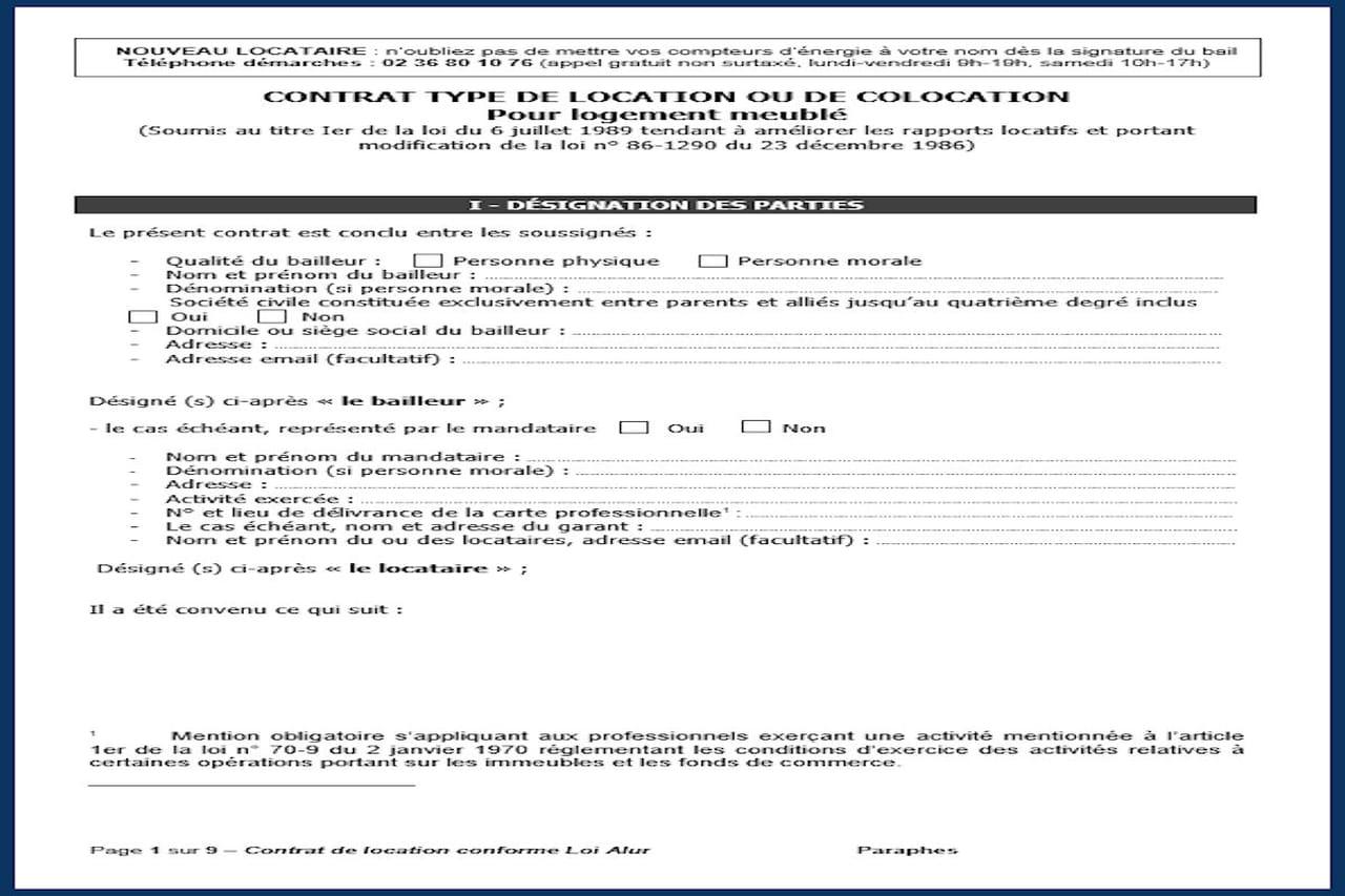 Contrat De Location : Modèle Gratuit À Télécharger (Pdf, Word) concernant Contrat De Location Meublé Gratuit