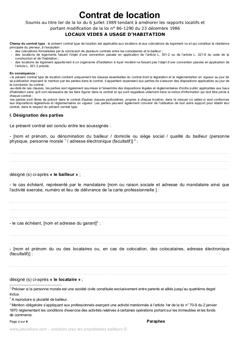 Contrat De Location pour Contrat De Location Meublé Gratuit