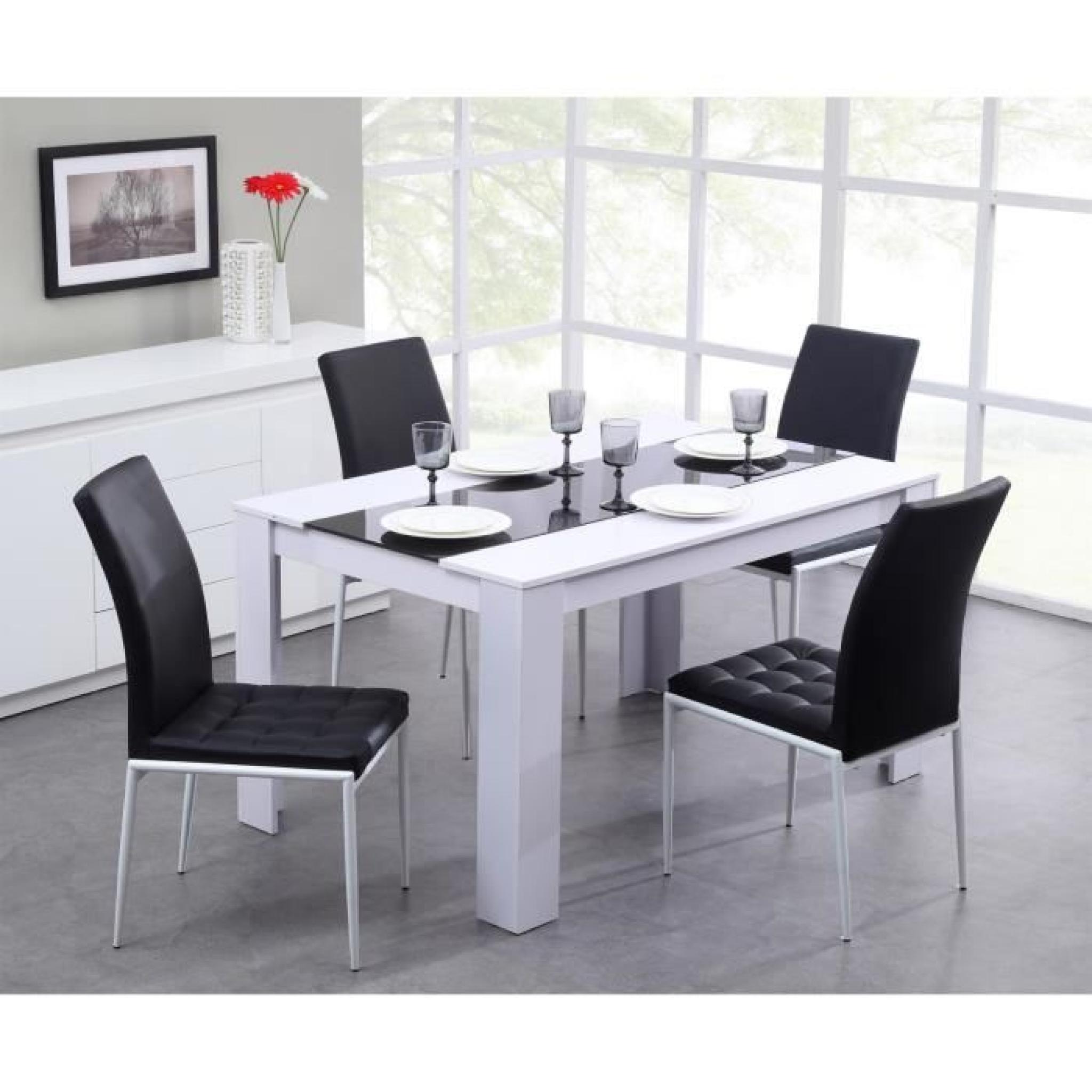 Damia Table À Manger 140X90Cm Noir Et Blanc destiné Table Salle À Manger Design Pas Cher
