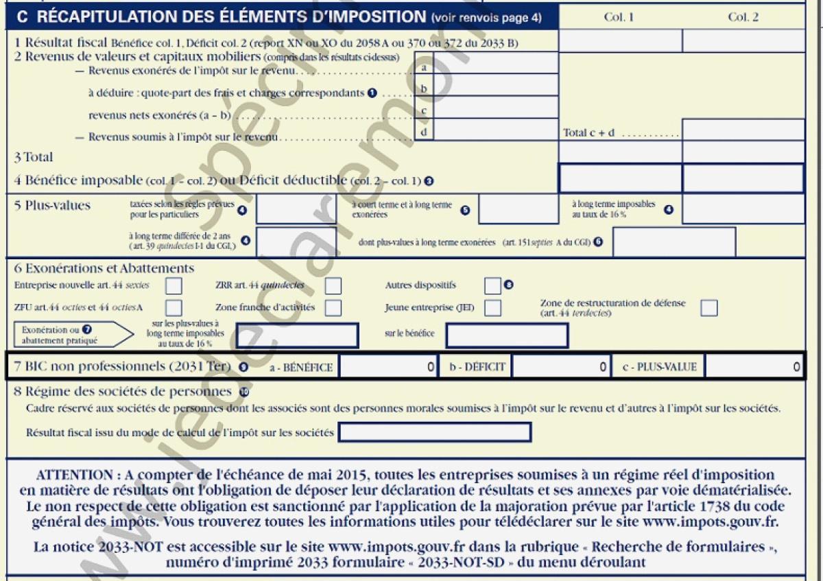 Déclaration Revenus Location Meublée Declaration 2035 E intérieur Déclaration Meublé