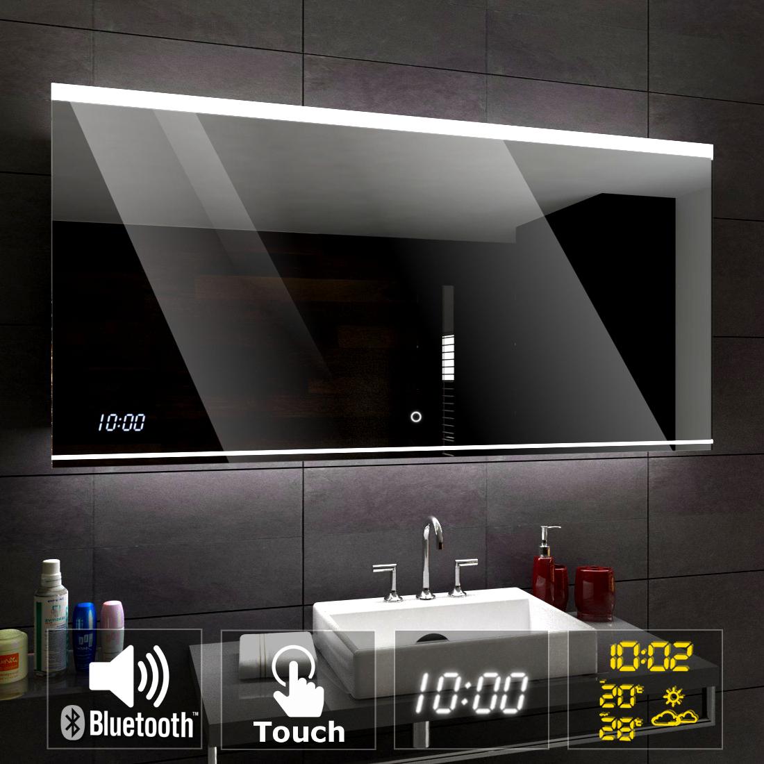 Details About Seoul Éclairé Del Miroir Salle De Bain Led | Bluetooth Touche  Horloge Temps encequiconcerne Mirroir Salle De Bain