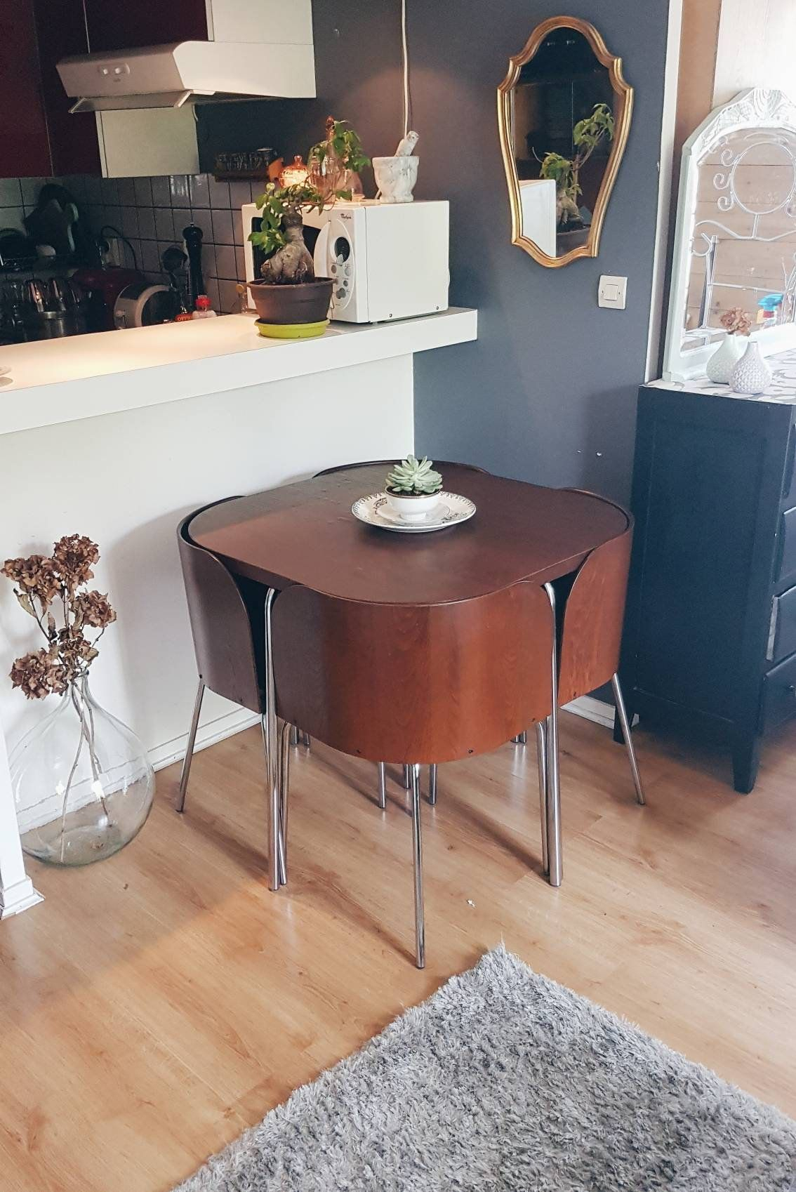 """Dining Room Model """"fusion"""" Year 50 / Table + Nesting Chairs dedans Table Salle A Manger Pliante Ikea"""