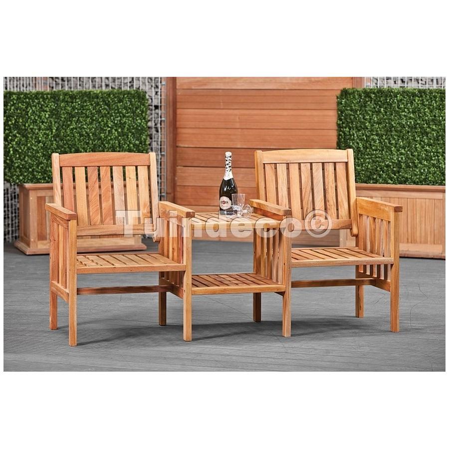 Double Chaise Avec Table En Bois Exotique De Tuindeco dedans Table De Jardin En Bois Avec Chaises