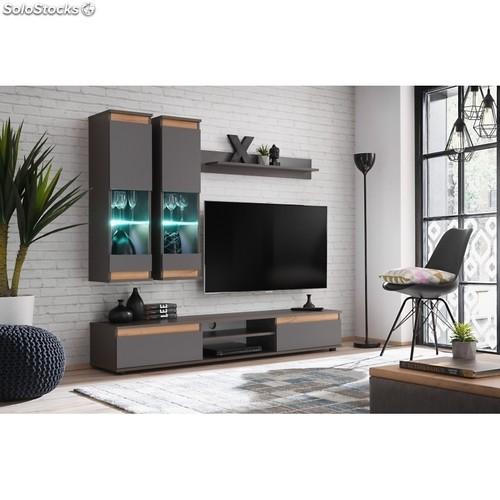 Ensemble Meuble Tv Mural - Abw Modo - Gris intérieur Meuble Tv Mural