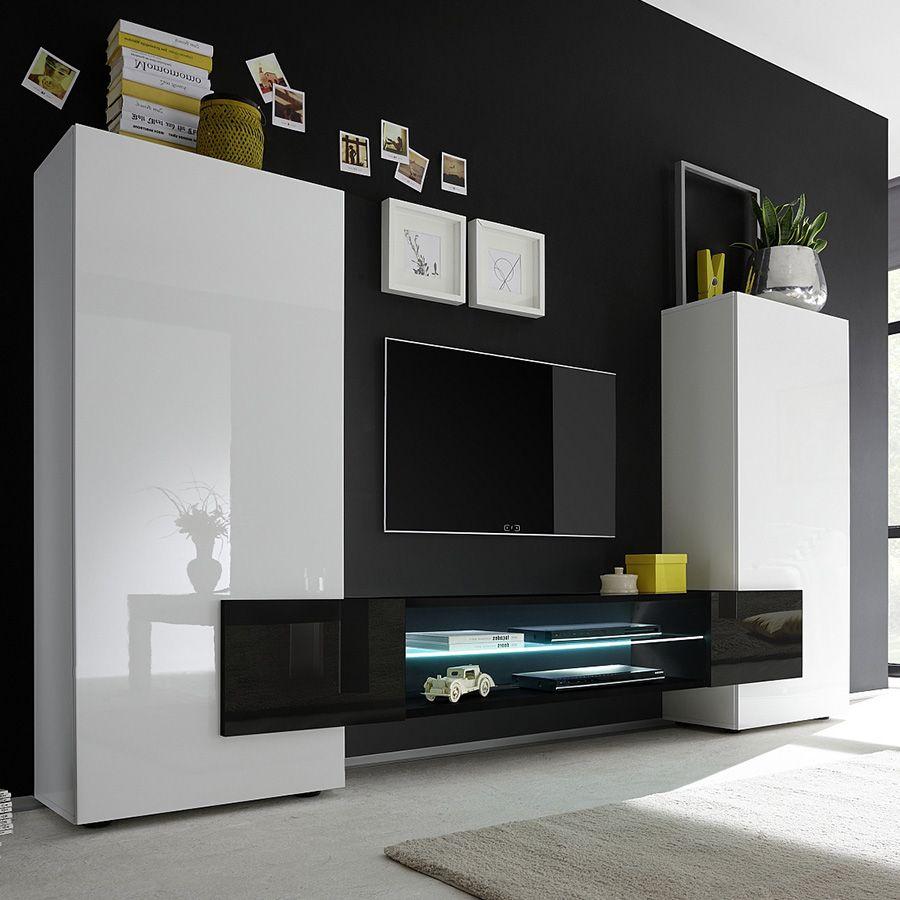 Ensemble Meubles Tv Blanc Et Noir Laqué Brillant Argos 3 à Meuble Tv Noir Haut