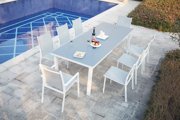 Ensemble Table De Jardin Extensible En Aluminium 8 pour Table De Jardin 10 Personnes