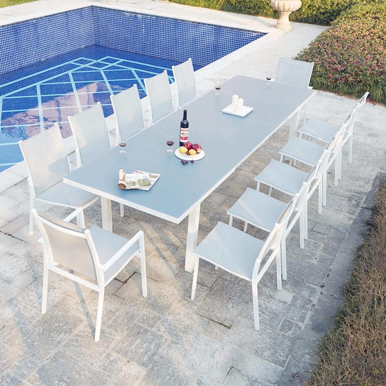 Ensemble Table De Jardin Extensible En Aluminium Moniga 12 concernant Table De Jardin Aluminium Jardiland