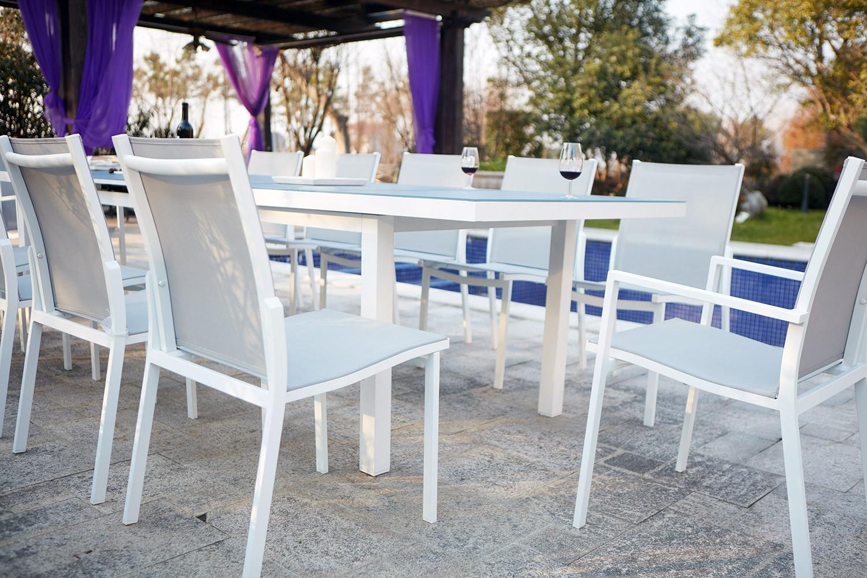 Ensemble Table De Jardin Extensible En Aluminium Moniga 12 tout Table Jardin 10 Personnes