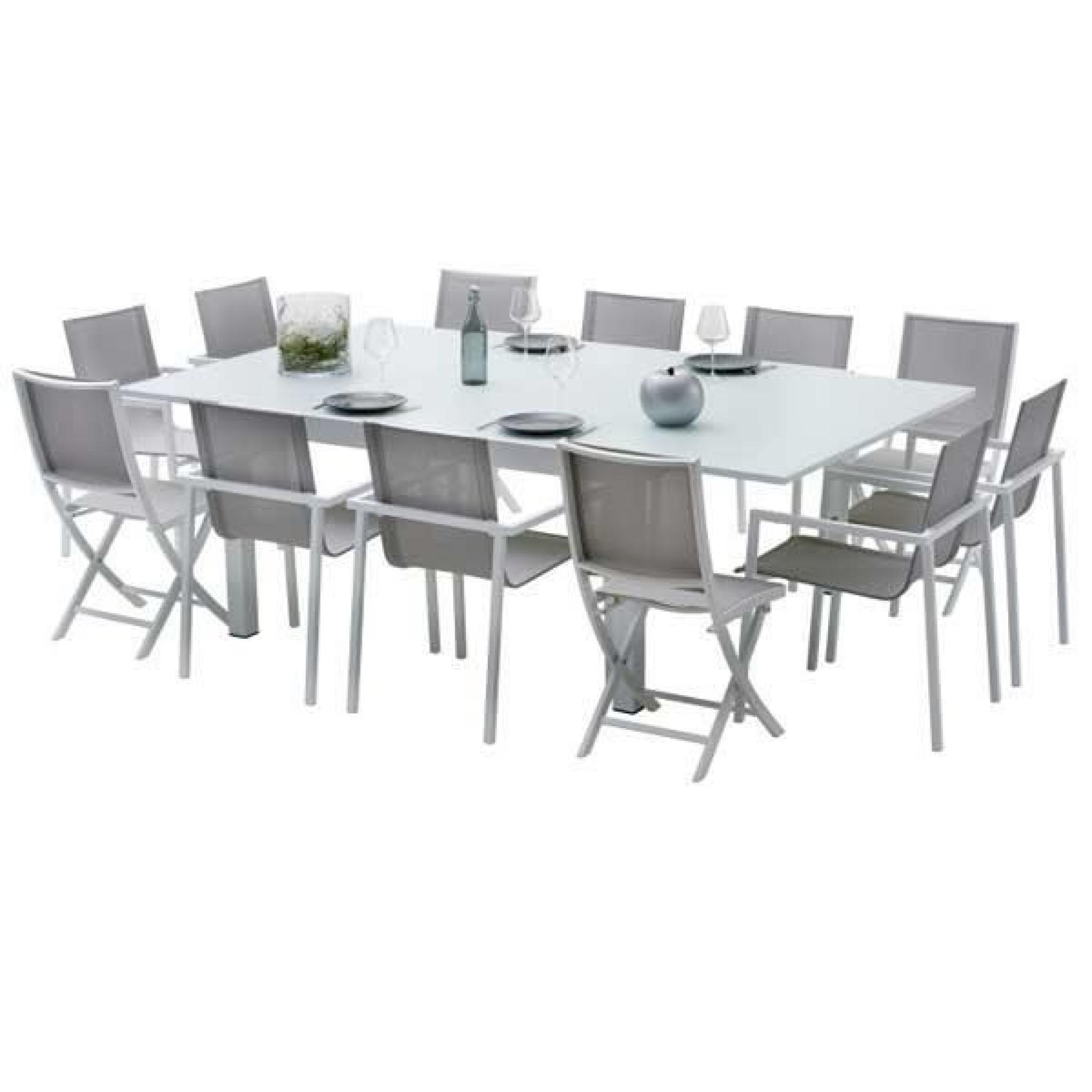 Ensemble Table Et Chaises De Jardin Extensibles Carre tout Salon De Jardin Aluminium 8 Places