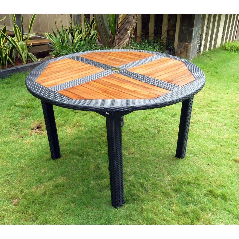 Ensemble Table Ronde De Jardin En Teck Et Chaises De encequiconcerne Salon De Jardin Table Ronde