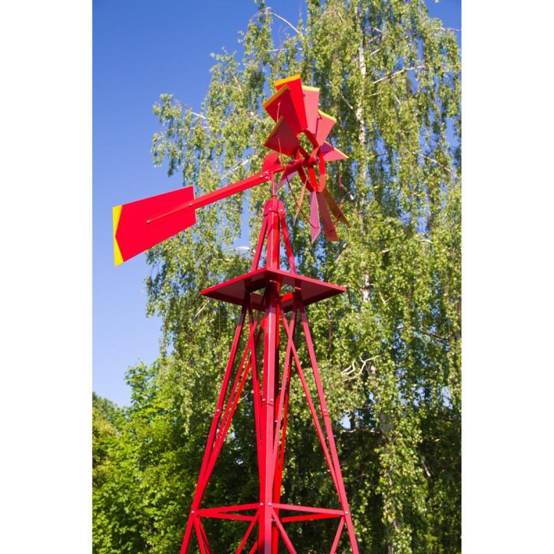 Eolienne Décorative Style Etats-Unis Rouge 245Cm encequiconcerne Eolienne De Jardin