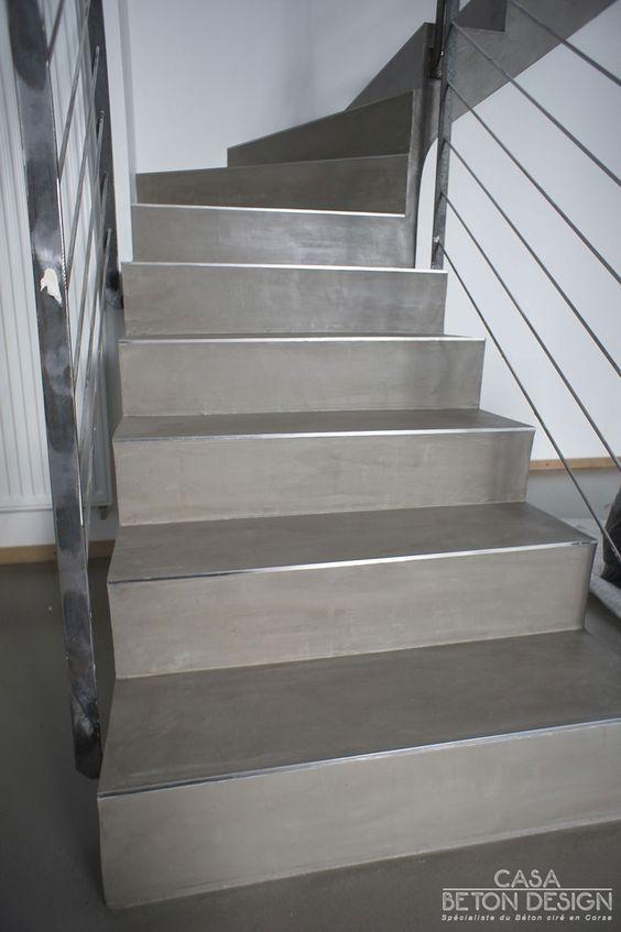 Escalier Béton Ciré, Nez De Marche Inox   Escalier pour Nez De Marche Pierre