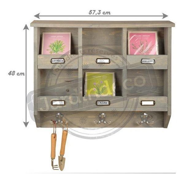 Etagère De Jardin Murale En Pin (6 Cases) destiné Etagere De Jardin