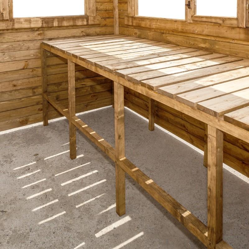 Etagères En Bois Traité Pour Serres En Bois 9M² Gardy Shelter concernant Etagere De Jardin