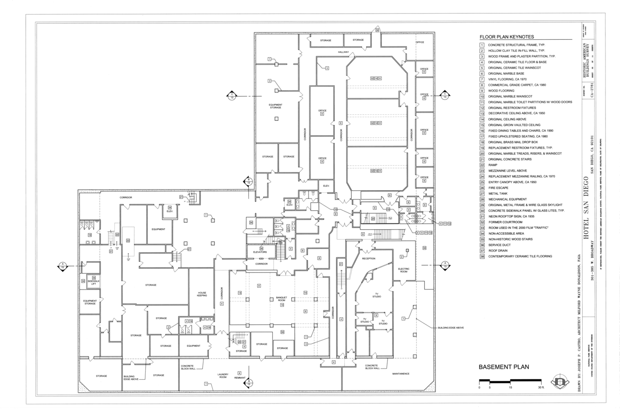 File:basement Plan - Hotel San Diego, 301-385 West destiné Plan