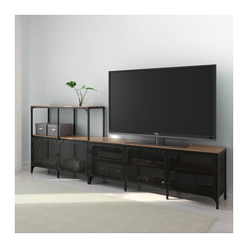 Fjällbo Tv-Meubel, Combi - Zwart 250X36X95 Cm | Tv Storage dedans Meuble Tv Ikea