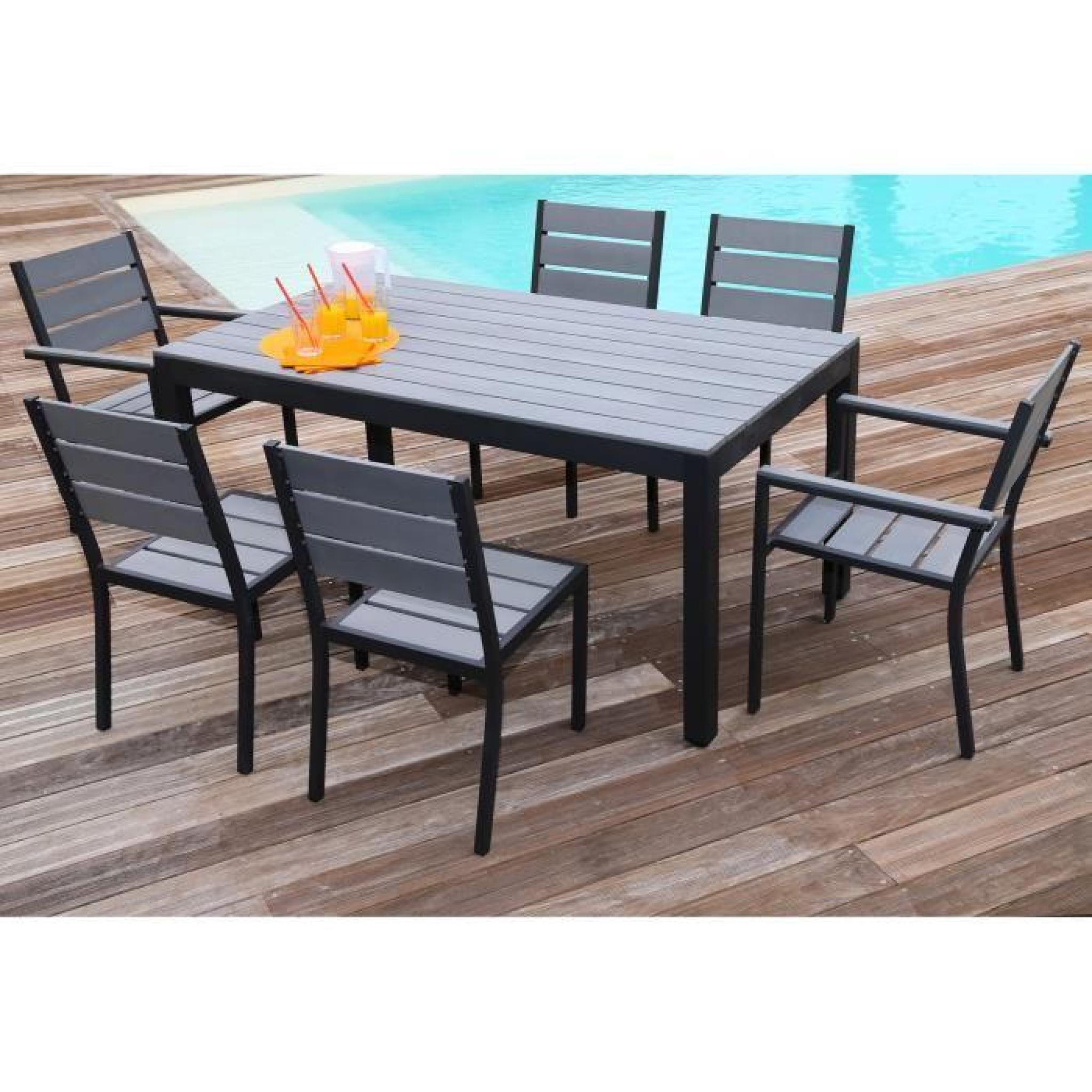 Floride Ensemble Table De Jardin 160 Cm + 2 Fauteuils + 4 avec Table De Jardin Aluminium Jardiland