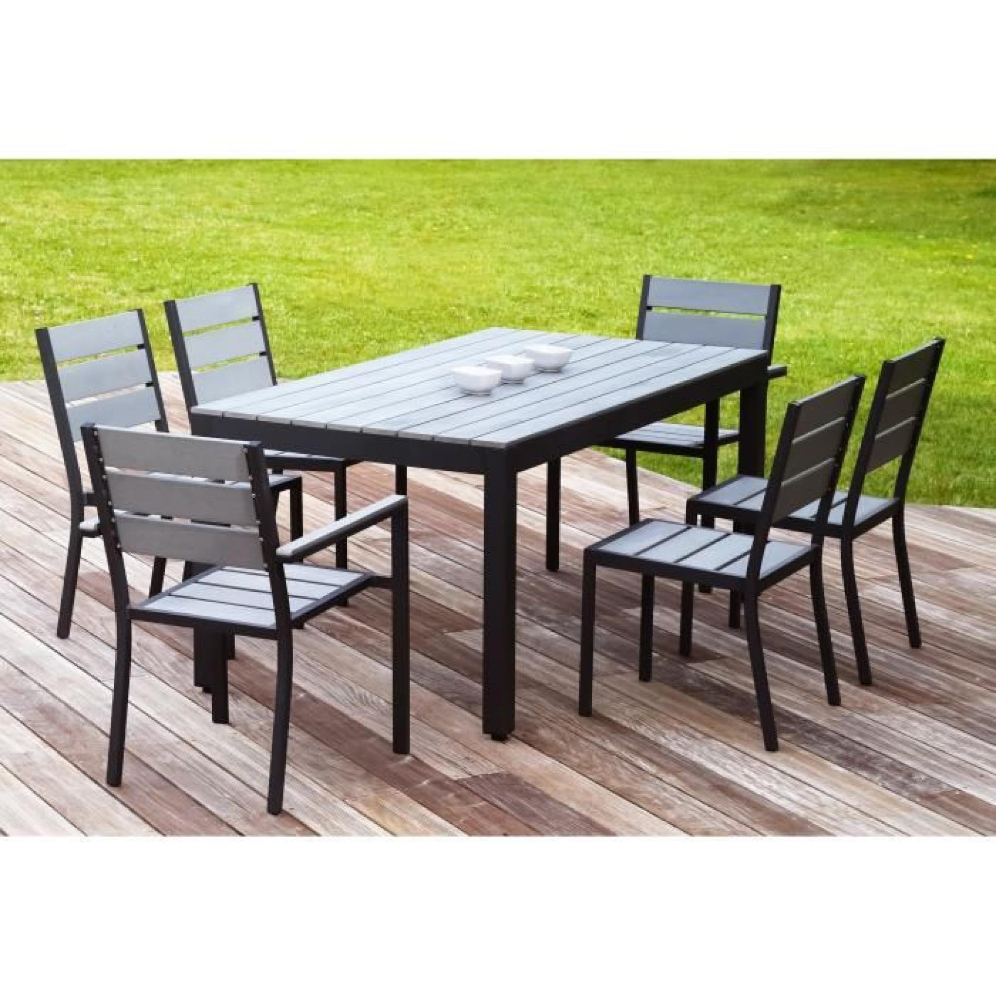 Floride Ensemble Table De Jardin 160 Cm + 2 Fauteuils + 4 intérieur Salon De Jardin Aluminium Pas Cher