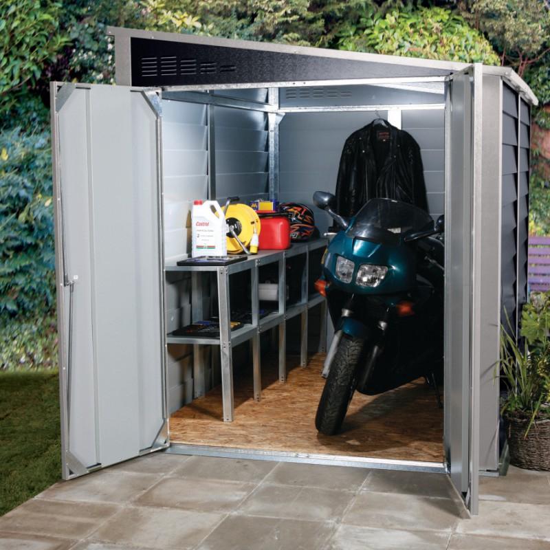 Garage À Motos En Métal Anthracite 4,69M² Titan 950 serapportantà Abri Moto Jardin